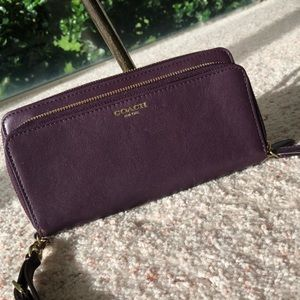 Purple coach wristlet/large wallet